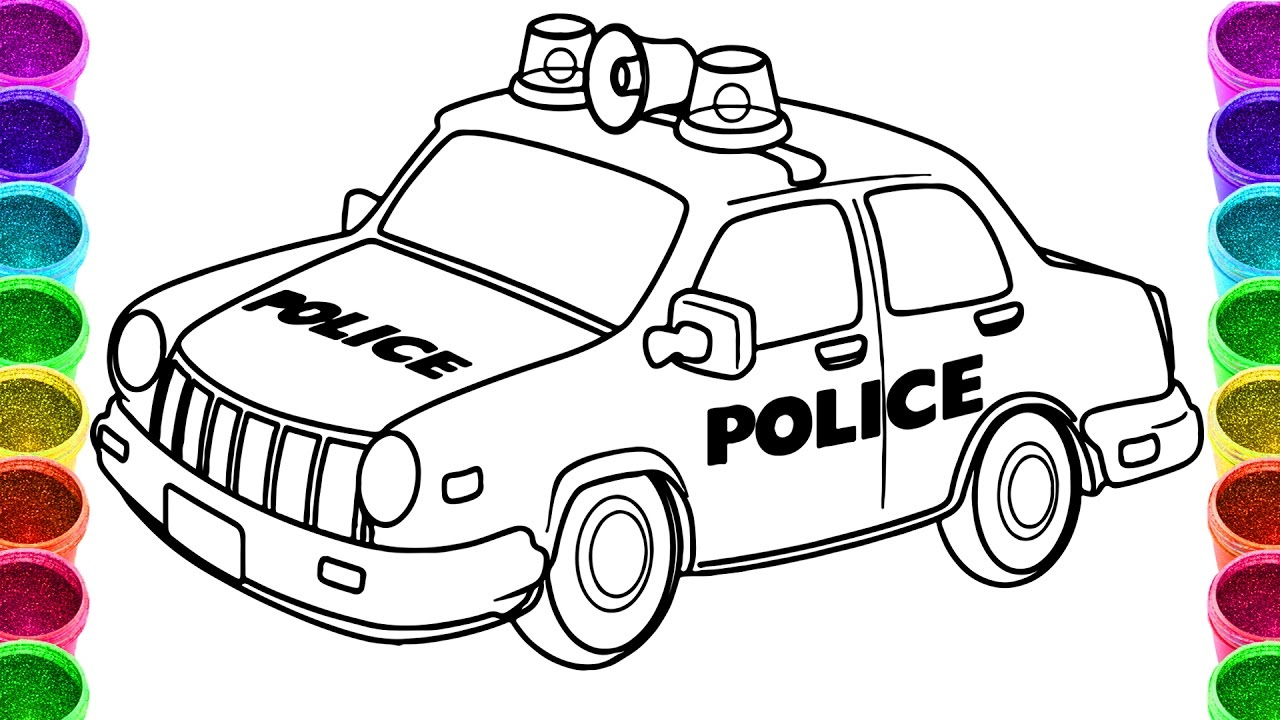1280x720 Police Car Drawing And Coloring Page Colouring Book Throughout