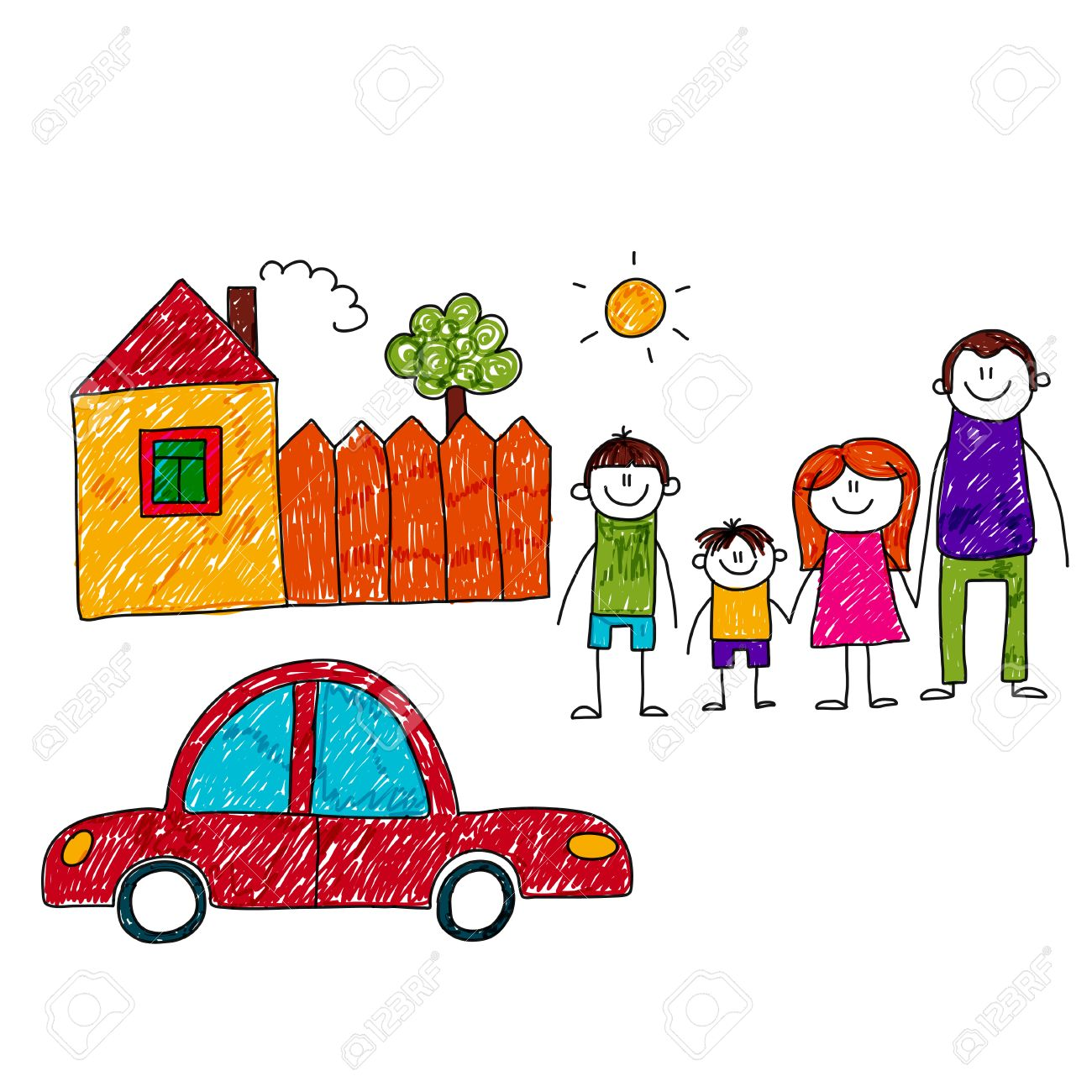 1300x1300 Image Of Happy Family With Car And House. Kids Drawing Royalty