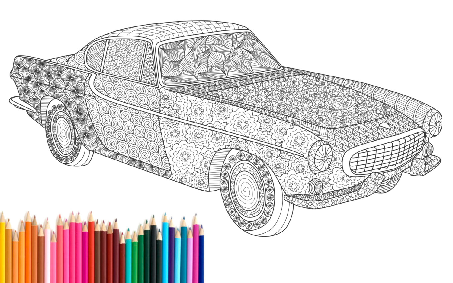 1500x940 Pdf Printable, Adult Coloring Page, Zentangle, Volvo P1800