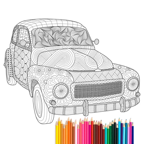 570x574 Pdf Printable Adult Coloring Page Zentangle Volvo Pv544 By Recyman