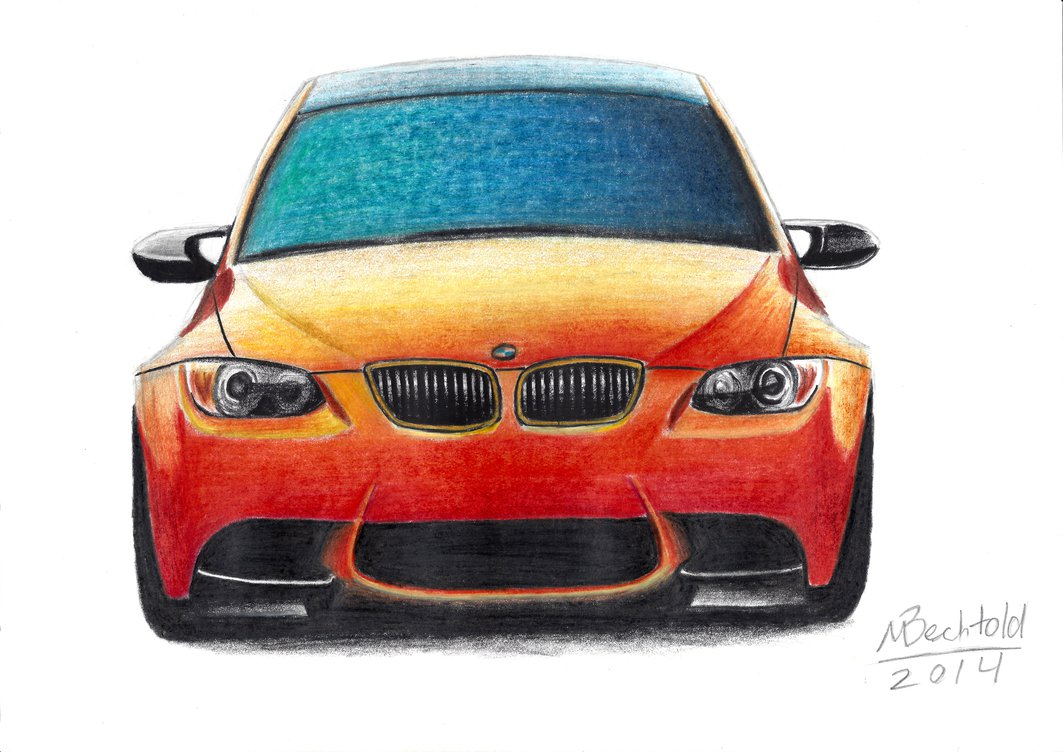 1063x752 Bmw M3 Gts E92 Realistic Car Drawing Colour Orange By Maxbechtold