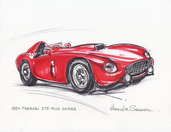 570x440 Classic Car Print 1954 Ferrari 375 Red Car Drawing Racing Car