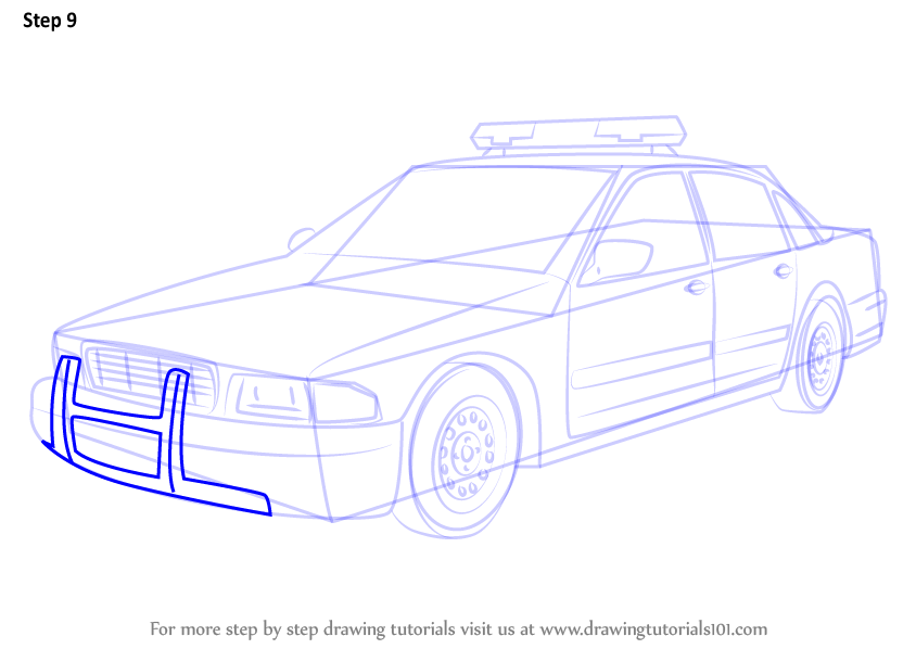 844x598 Learn How To Draw A Police Car (Police) Step By Step Drawing