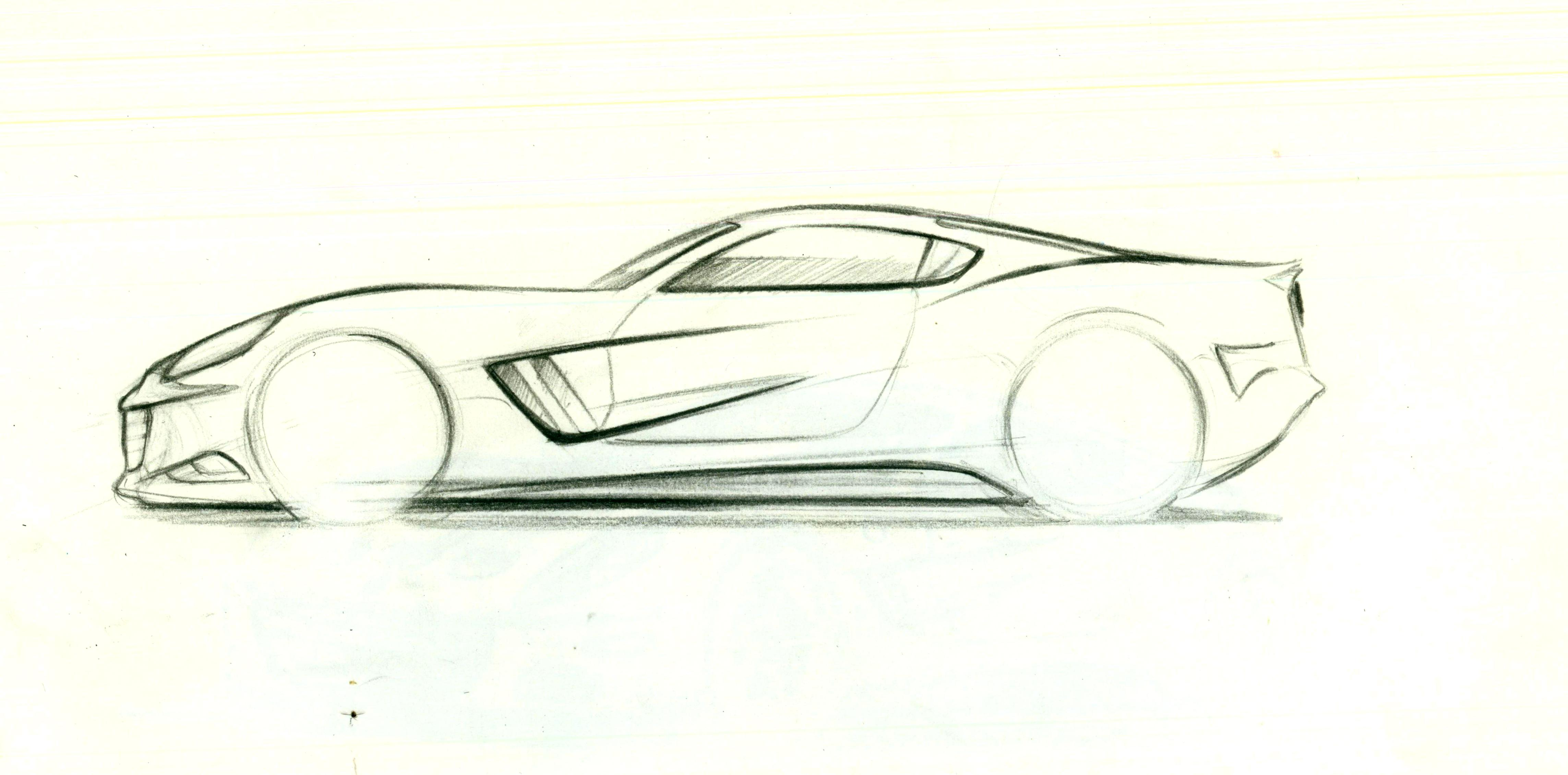This is a graphic of Bright Side View Of Car Drawing