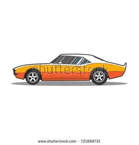 450x470 American Muscle Car Drawings Side View My Car