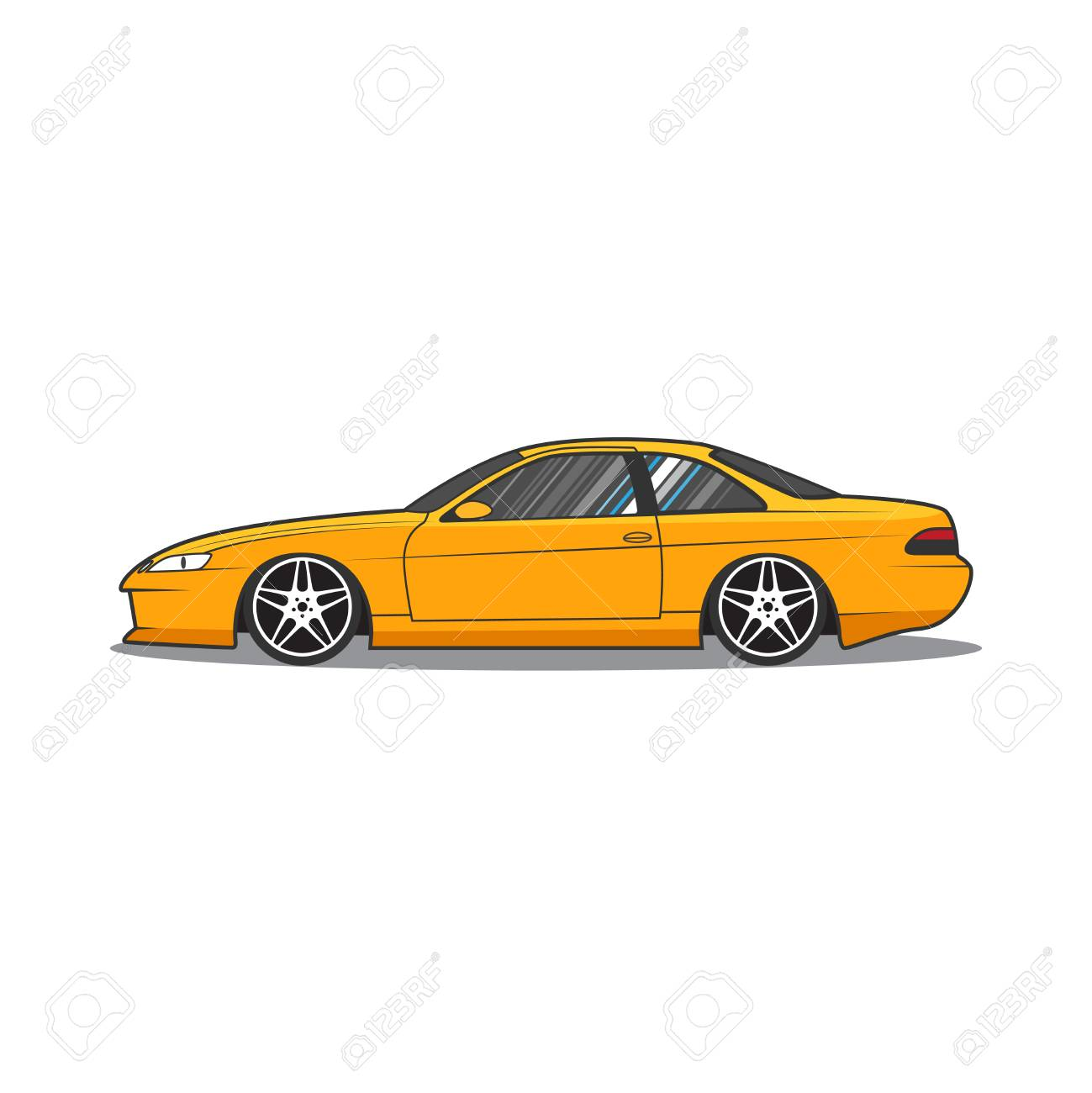 1299x1300 Japan Sport Car. Car Sketch. Side View. Royalty Free Cliparts