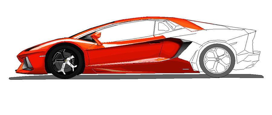 900x382 Lamborghini Aventador Side View Ms Paint Colored 2 By Ant787