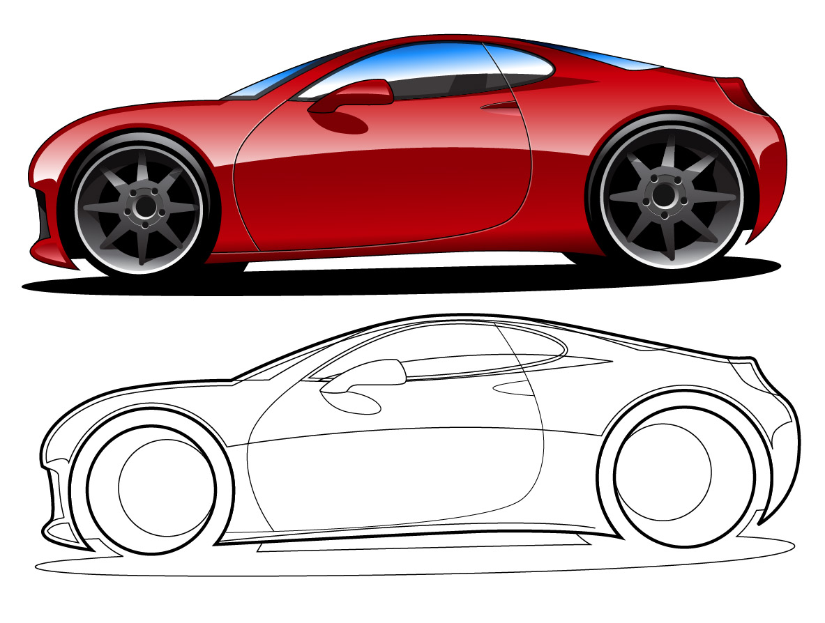 1183x894 Red Vector Car Illustrations With Outline Trashedgraphics