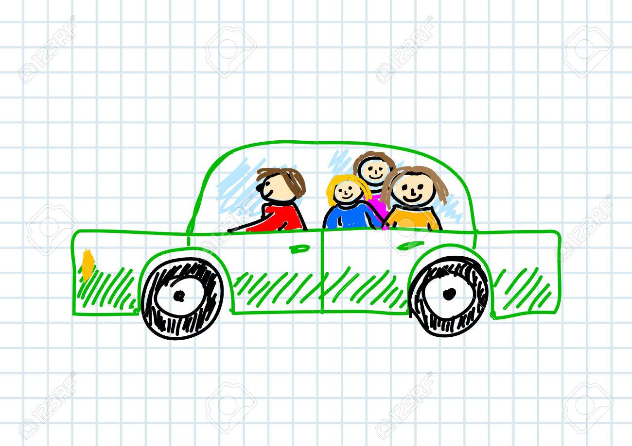 1300x919 Car Drawing On Squared Paper Royalty Free Cliparts, Vectors,