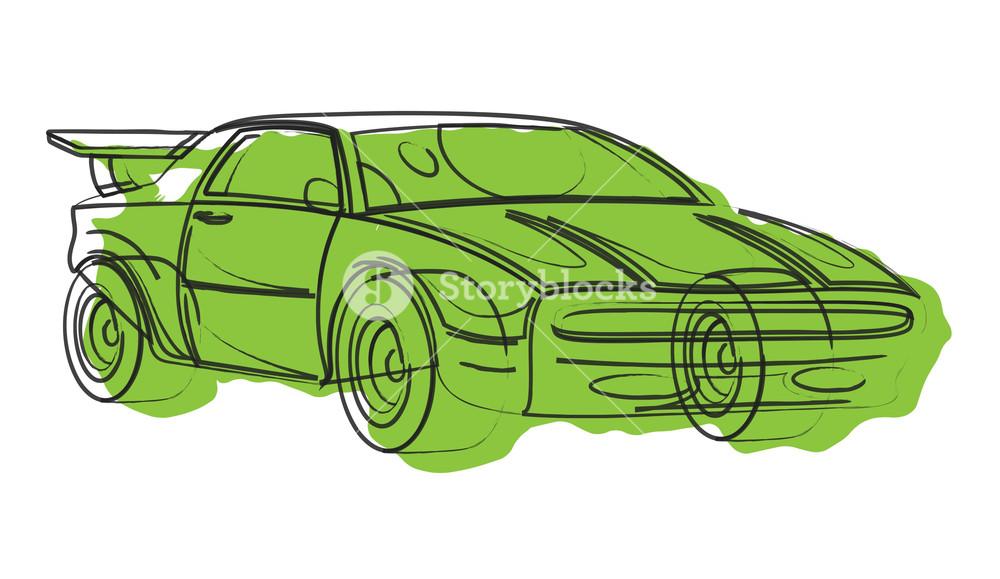 1000x579 Sports Car Vector Drawing Royalty Free Stock Image