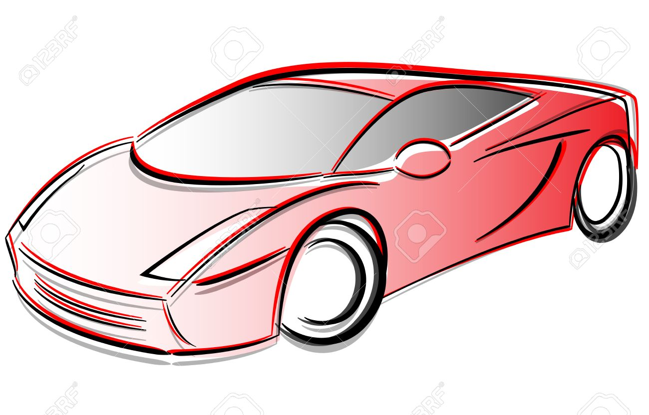 1300x832 Vector Illustration Of Prototype Car Drawing Concept Royalty Free