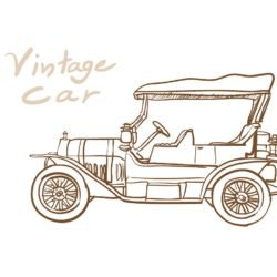 250x250 Vintage Car Drawing, Pencil, Sketch, Colorful, Realistic Art