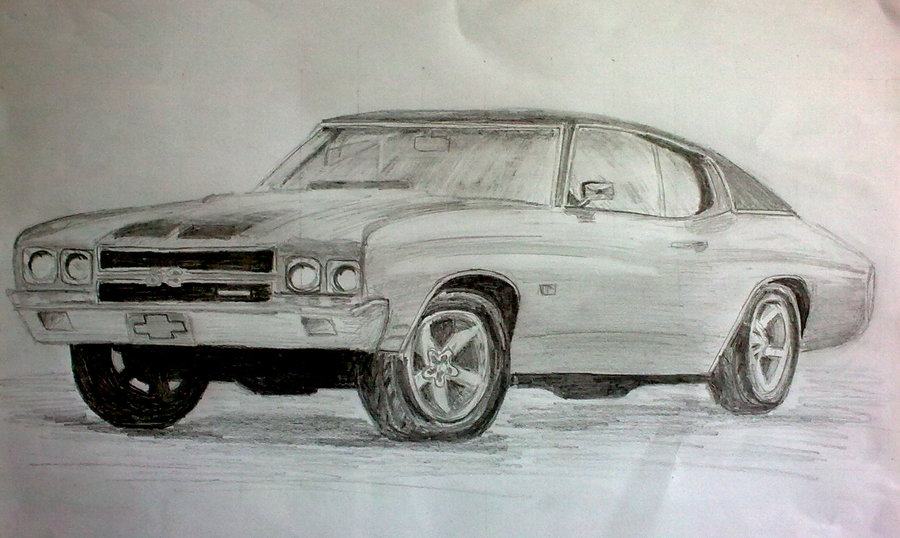 900x538 Muscle Car In Pencil By Greendragon42