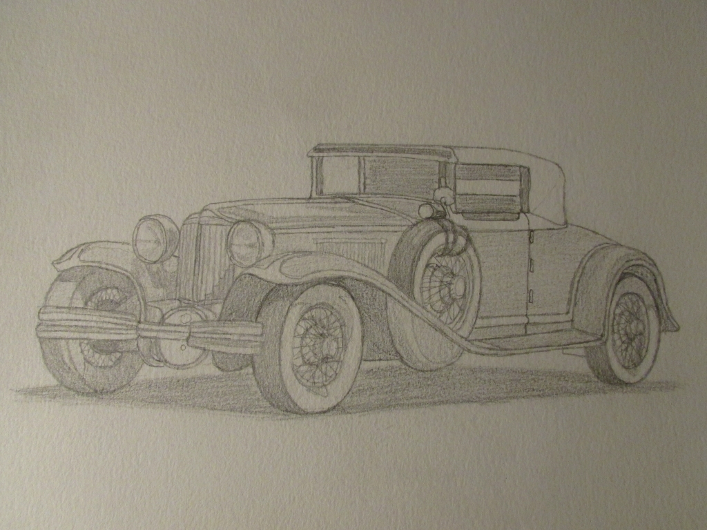 1024x768 Pencil Drawings Of Classic Cars Classic Car Sketch