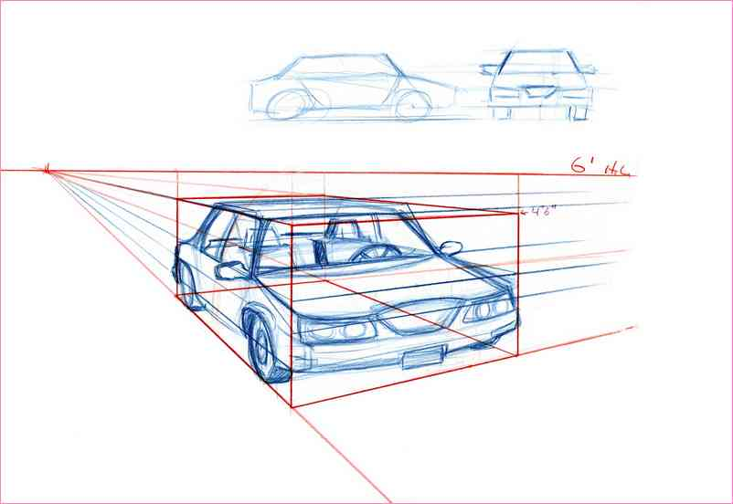 802x552 2 Point Perspective Drawing Car