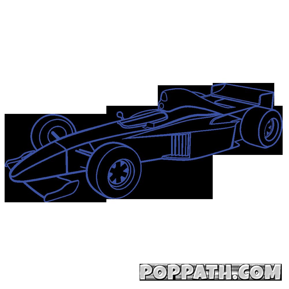 1000x1000 How To Draw A F1 Formula One Car Pop Path
