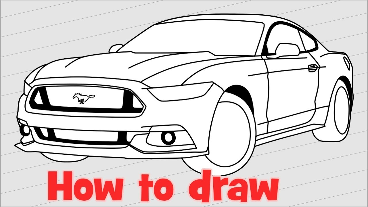 1280x720 How To Draw A Car Ford Mustang Gt 2017