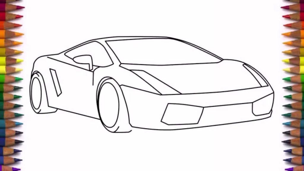 1024x576 Simple Car Drawing For Kids How To Draw A Car Lamborghini Gallardo