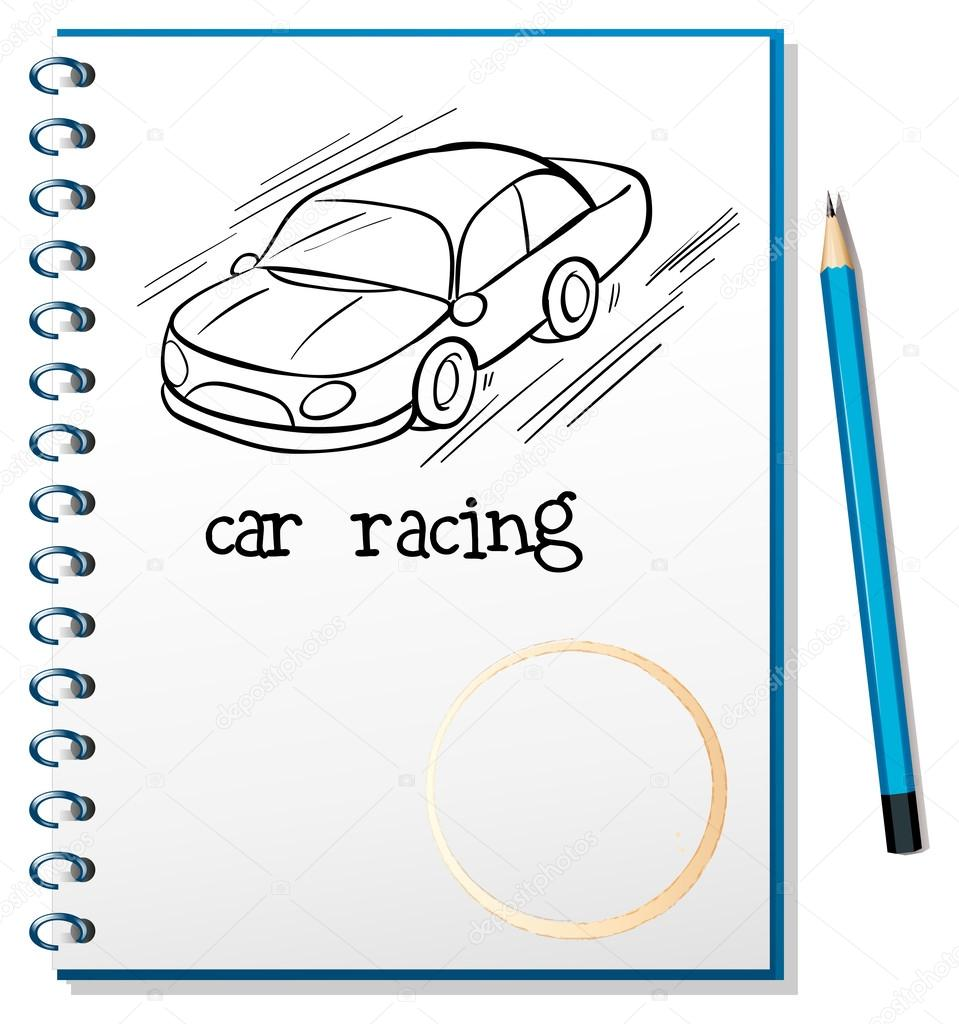 959x1024 A Notebook With A Drawing Of A Car Racing Stock Vector
