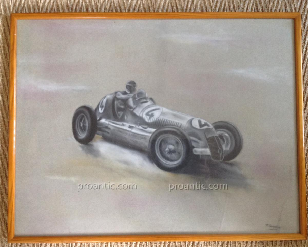 1200x962 Drawing Car Racing F January 1950 Alfa Romeo Lemoine Signed