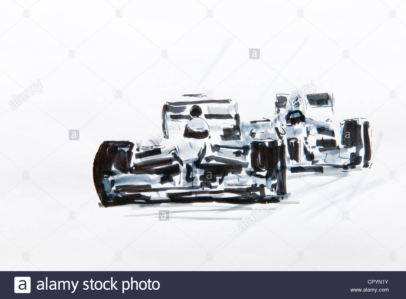 1300x956 Formula One Car Racing, Drawing By Gerhard Kraus, Kriftel, Germany