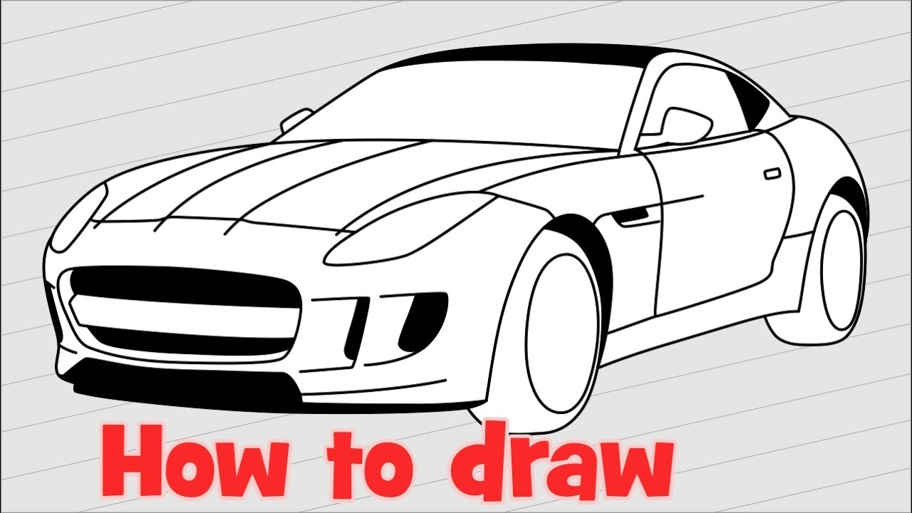 1280x720 How To Draw A Car Jaguar F Type 2017 Step By Step
