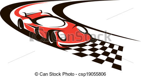 450x245 Speeding Racing Car Crossing The Finish Line As It Roars Vector
