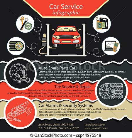 450x470 Car Repair Infographics. Cat Service And Tire Infographic . Eps