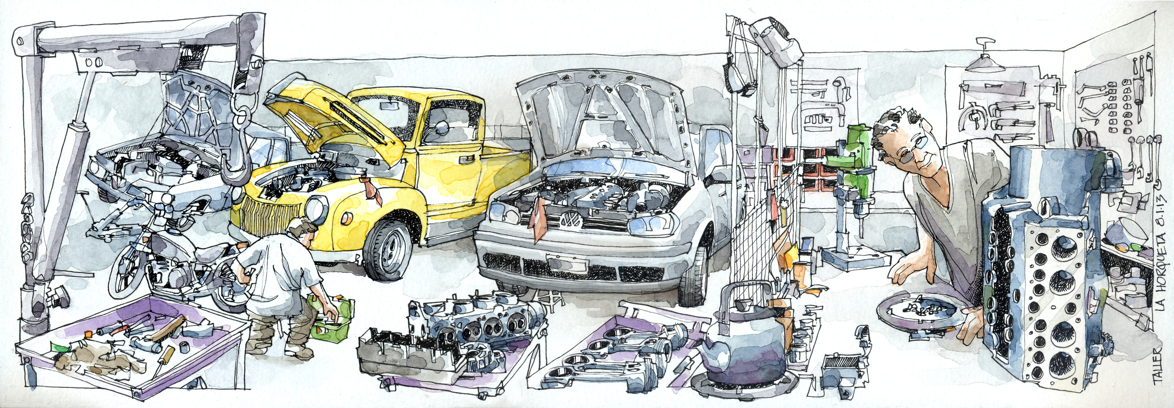 Car Repair Drawing at GetDrawings.com | Free for personal use Car ...