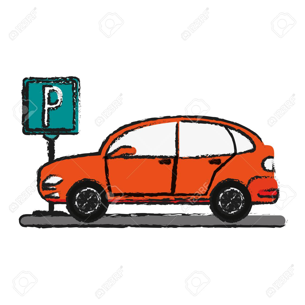 1300x1300 Parked Car Sideview Icon Image Vector Illustration Design Sketch