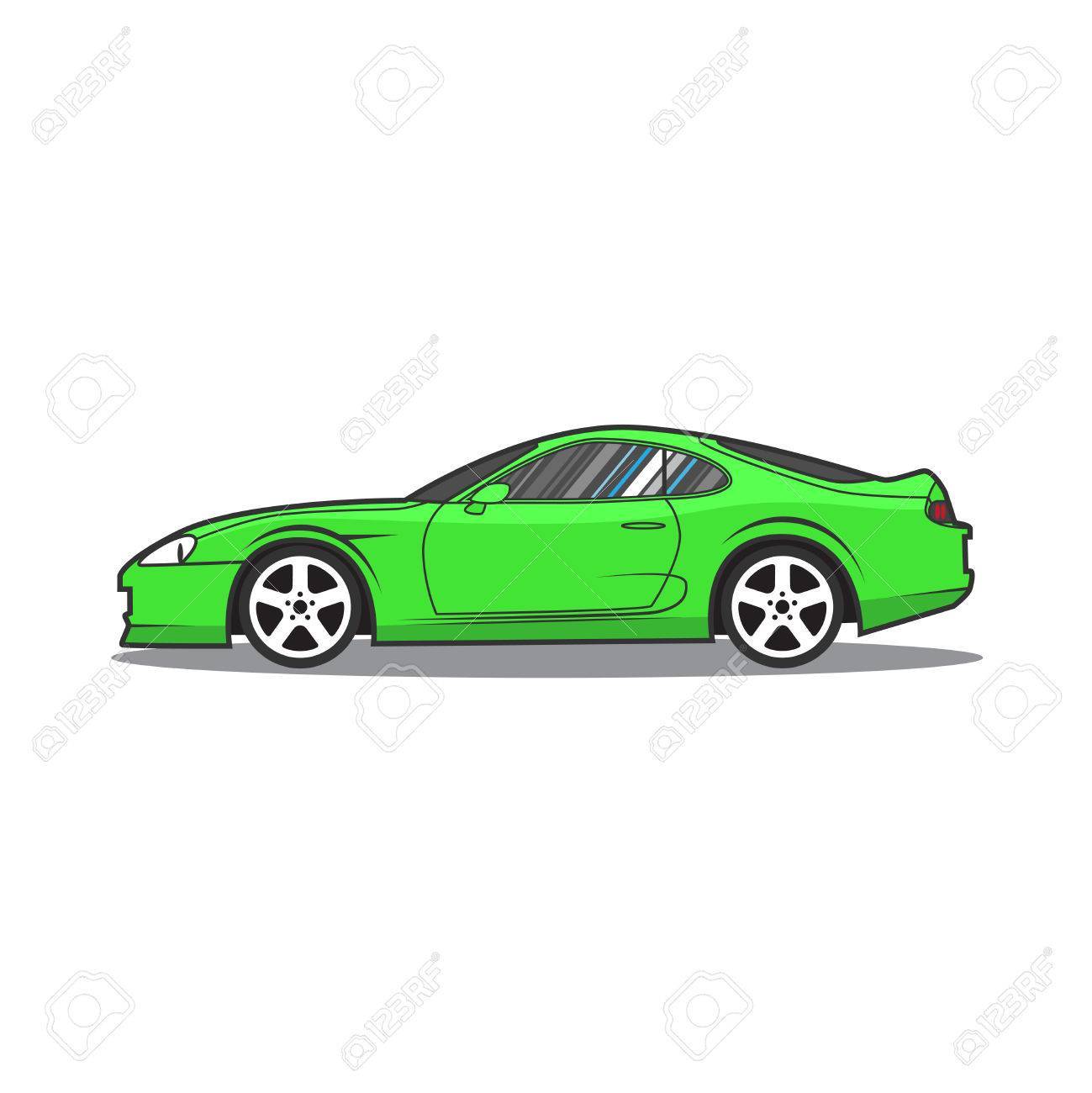 1299x1300 Vector Green Sport Car. Side View. Royalty Free Cliparts, Vectors