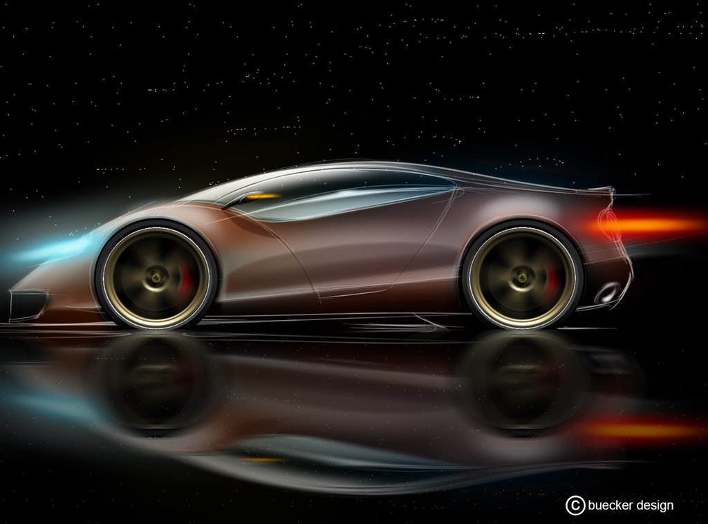 1024x758 Super Sport Car Side View By P Sketch