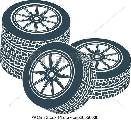 450x414 Rubber Wheel Tire Rim Drive Car. Two Wheels With Tires