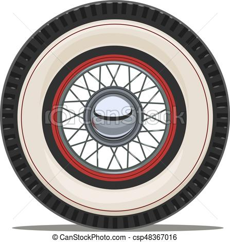 447x470 Vintage Car Wheel With Spoke Vector Illustration. Vintage