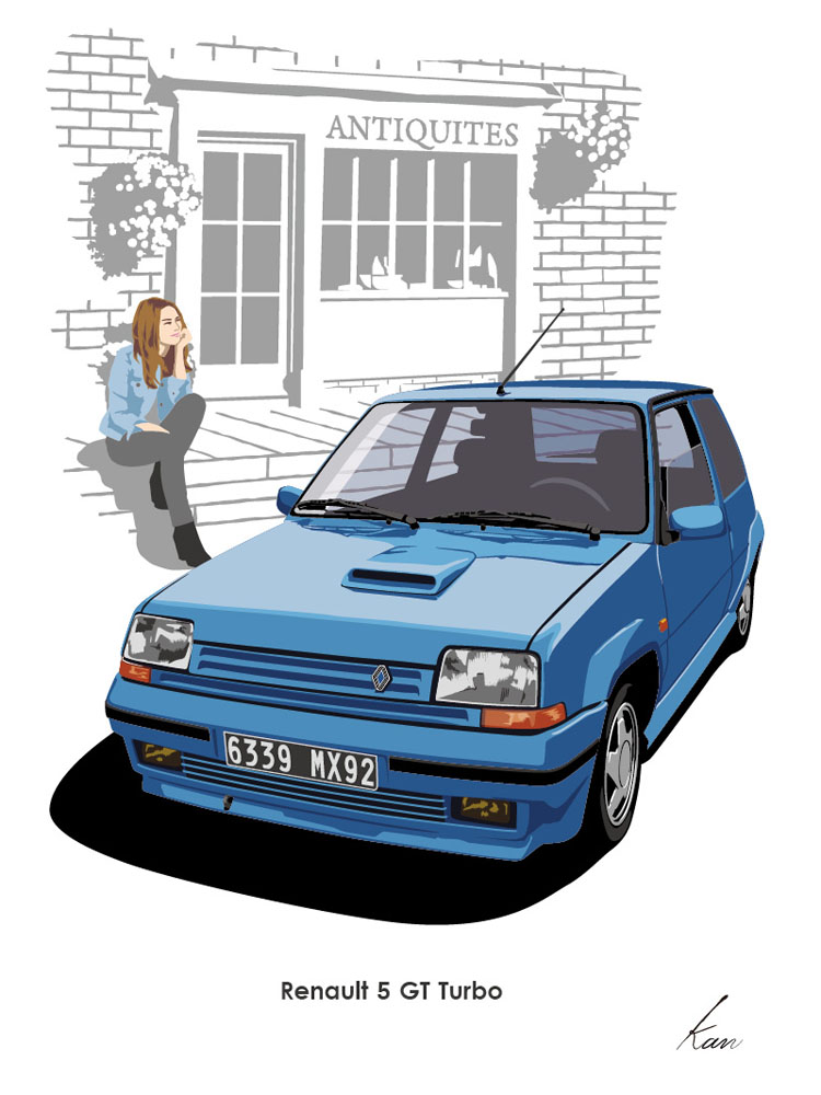 750x1000 Renault 5 Gt Turbo Car Drawing Cars, Car Drawings