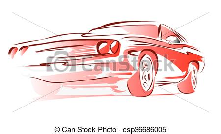 450x273 Old Muscle Car, Vector Outline Colored Sketch, Hand Drawn
