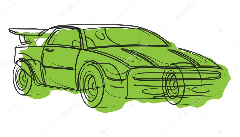 1023x584 Sports Car Vector Drawing Stock Vector Baavli
