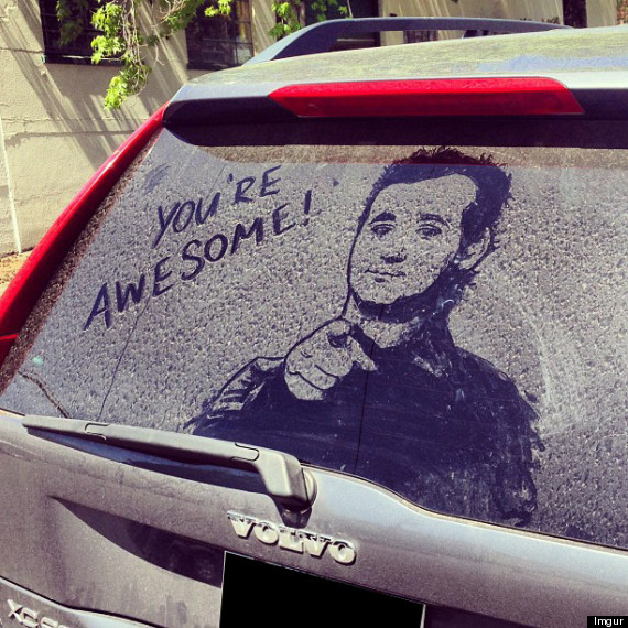 570x570 Bill Murray Car Drawing Graces The Rear Window Of A Volvo (Photo