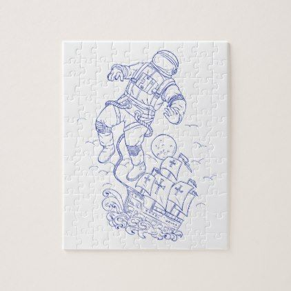 422x422 Astronaut Tethered Caravel Ship Drawing Jigsaw Puzzle