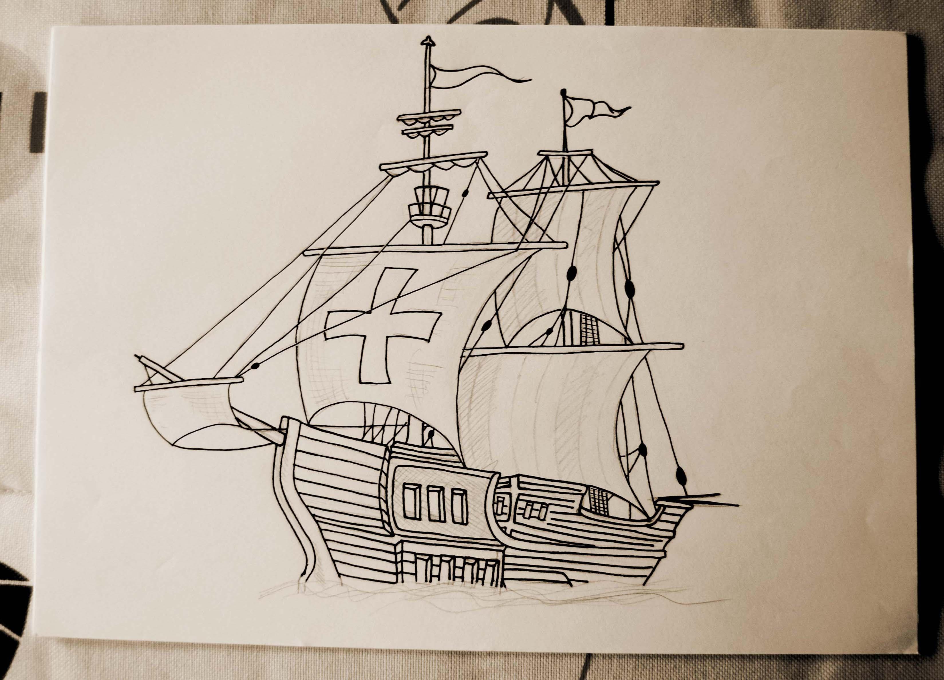 3298x2376 Carabela Ii Caravel Ii. Dibujo De Una Carabela. Ilustracion De