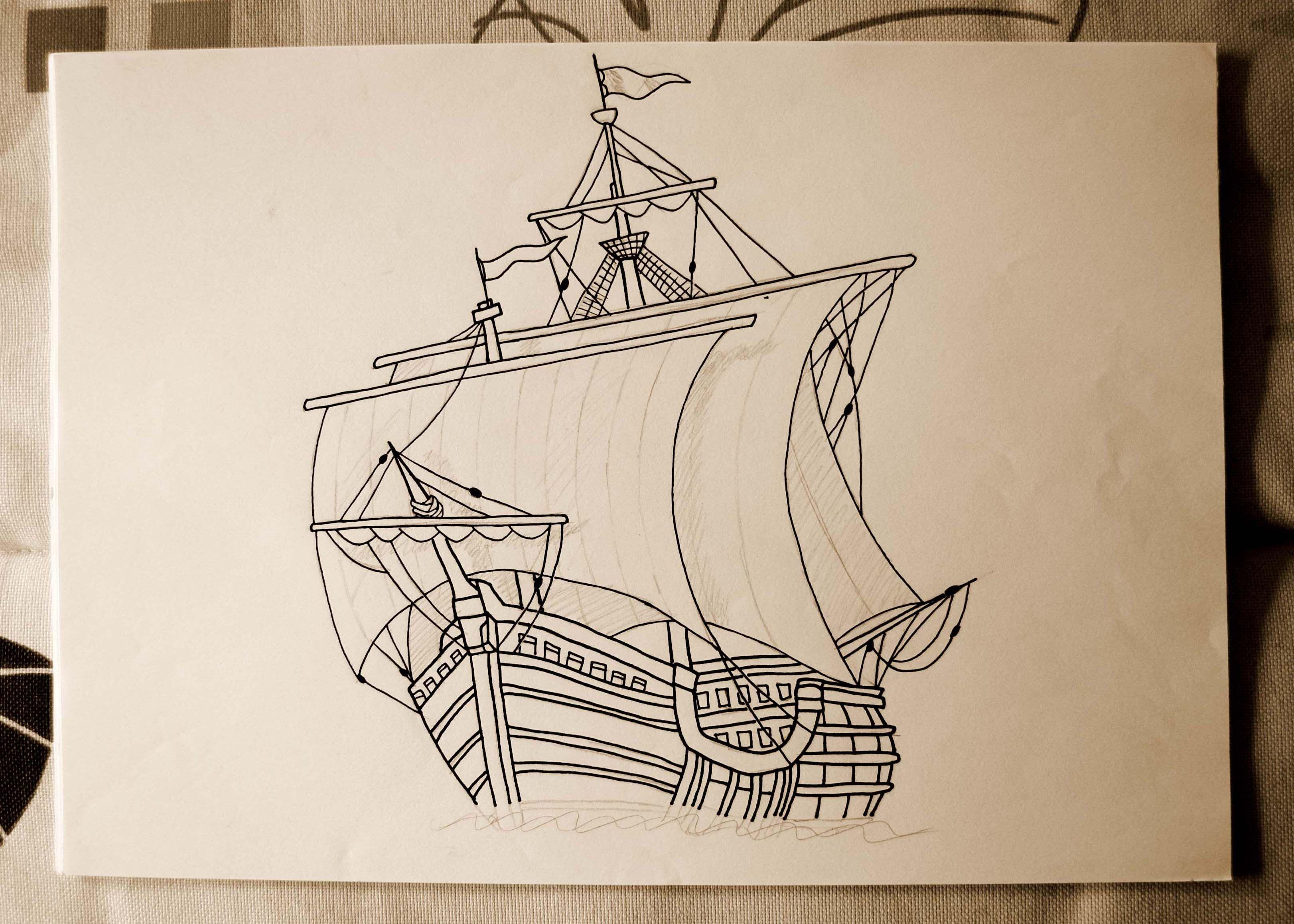 3244x2316 Dibujo De Una Carabela 1 Drawing Of A Caravel 1. Ilustracion De