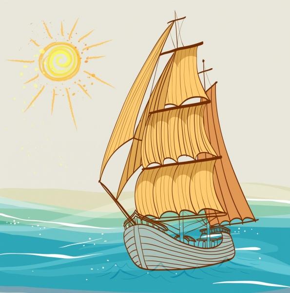 595x600 Ship Drawing Sea Sun Icons Multicolored Handdrawn Sketch Free