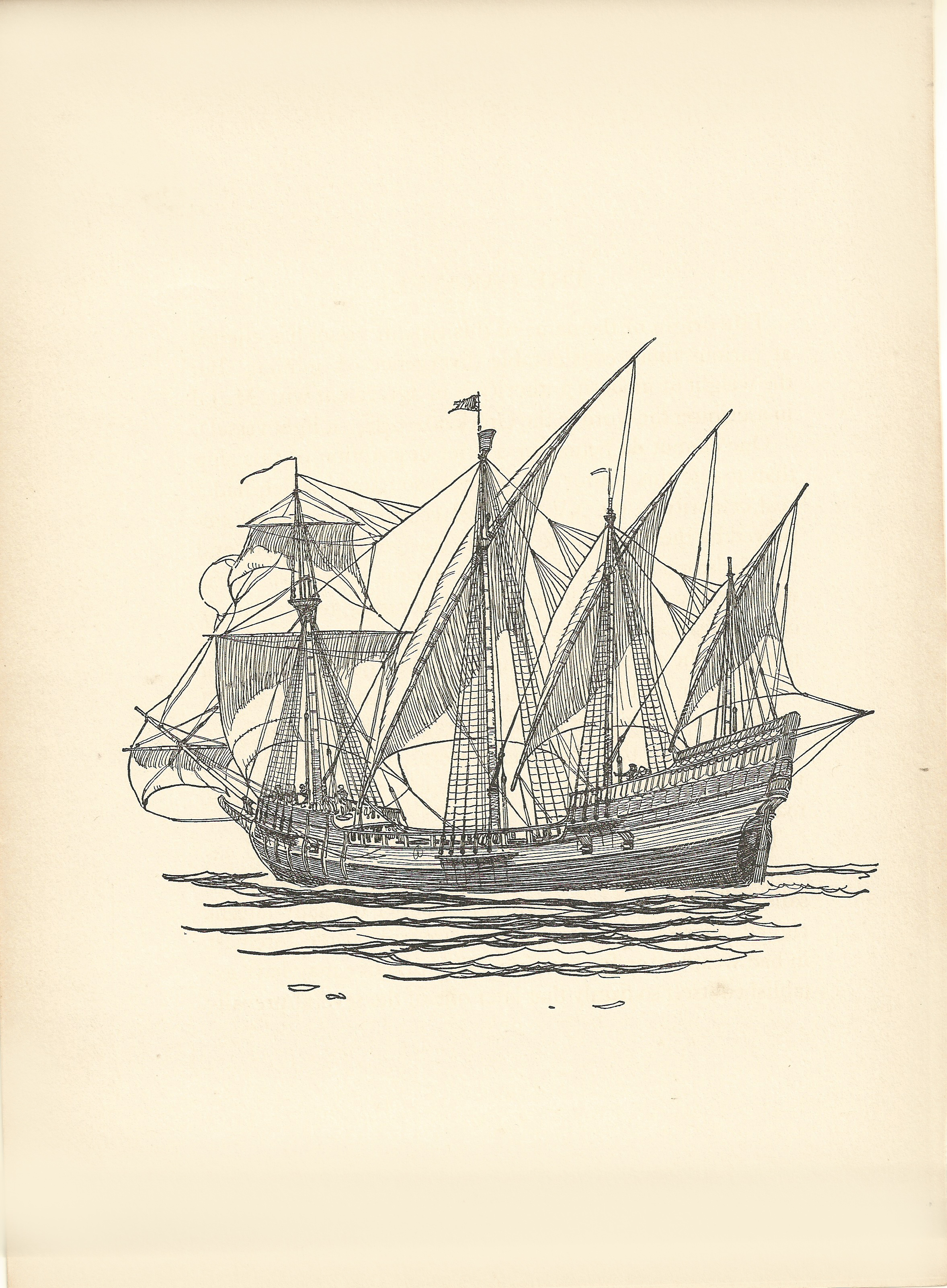 2356x3204 The Caravel , 7 X 11 Print On Paper. From The Book Of Old Ships