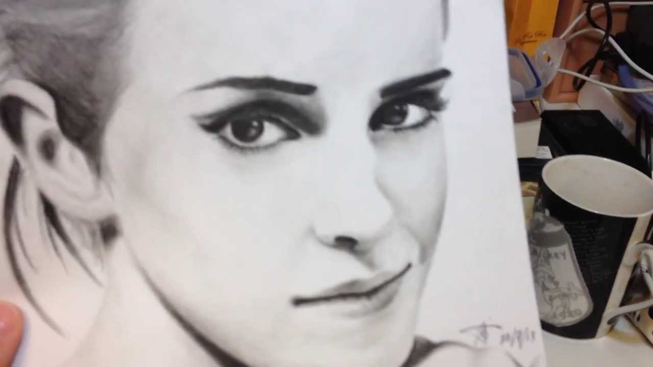 1280x720 Emma Watson Portrait Drawing + Carbon Pencils!