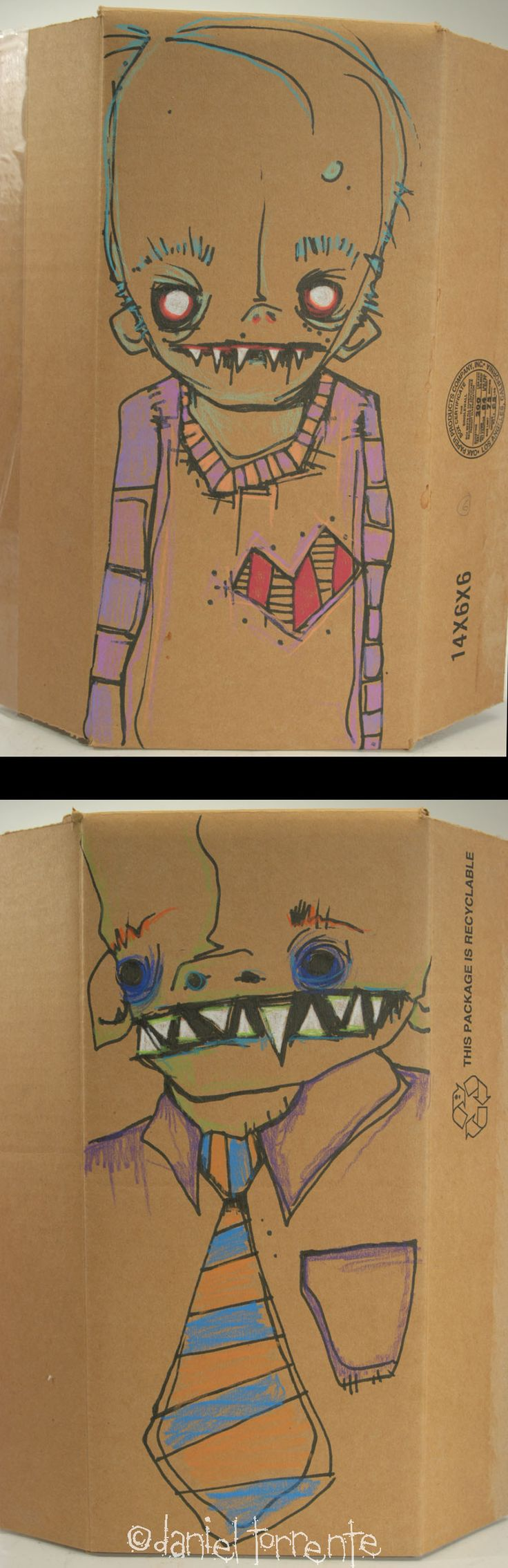 736x2268 52 Best Cardboard Boxes With Artwork Drawn By Daniel Torrente