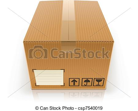 450x362 Closed Cardboard Box Vector Illustration Isolated On White Eps