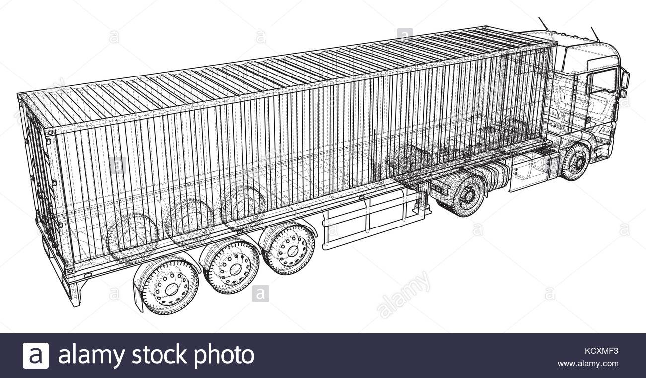 1300x761 Cargo Truck Trailer. Abstract Drawing. Wire Frame. Eps10 Format