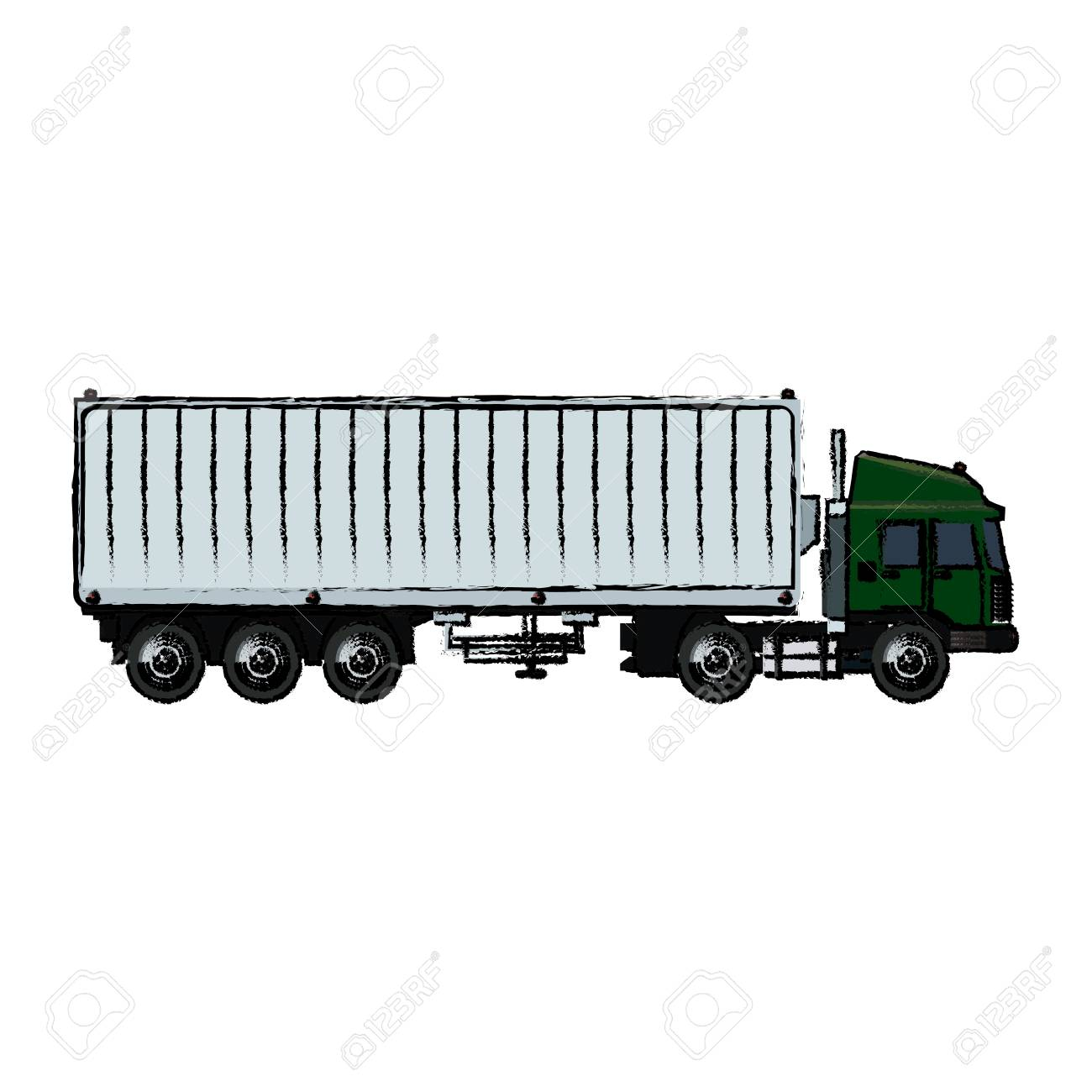 1300x1300 Drawing Truck Container Shipping Cargo Vector Illustration Royalty