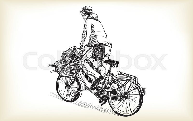 800x503 Sketch Of People Who Is Bicycle Messenger With Cargo Bike Riding