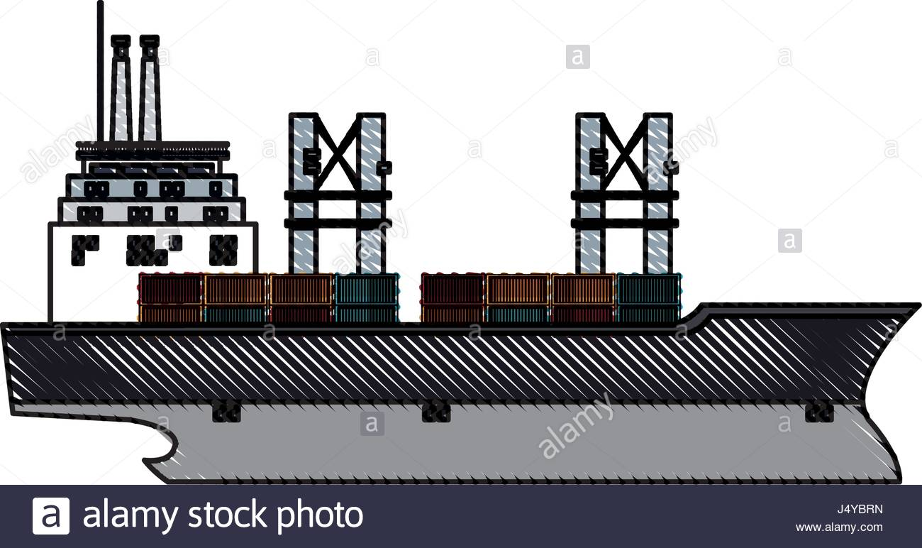 1300x772 Drawing Ship Container Cargo Delivery Crane Stock Vector Art